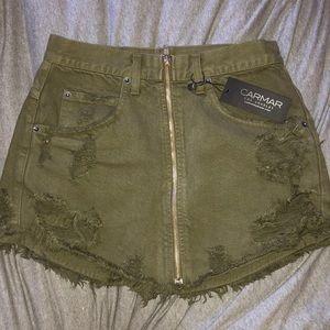 Army Green Carmar Denim Skirt with Center Zip